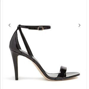 Faux Patent Ankle-Strap Heel Stilletos